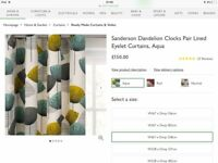 John Lewis Dandelion Clocks eyelet curtains excellant cond Width 167 x Drop 228 still sold in shop