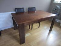 Homebase Dark Wood Rectangular Extending Dining Table 150 X 90cm