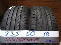 matching pair 235 50 18 contisports 7mm tread £80 FOR PAIR SUPP AND FITTD £150 FOR SET opn 7dys