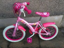 Girl's Princess Bicycle, with stabilisers
