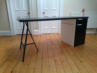 Desk setup: Kitchen worktop, base unit with drawer, trestle and chair