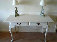 LARGE PAINTED MAHOGANY CONSOLE/DRESSING TABLE WITH TWO DRAWERS PRICE REDUCED