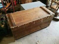 Antique Vintage Pine storage trunk coffee table toy box castors