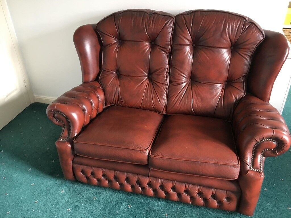 Open To Offers Springvale Oxblood Chesterfield Vintage Style Leather Sofa