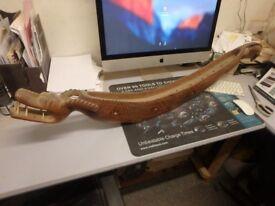 Large Asian Teak(?) Dragon boat multi stick Incense burner, holder