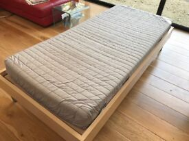 Bed, Ikea single, Birch colour frame, with slats and mattress, all excellent condition