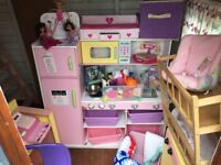 Clear out wooden play/toy kitchen, wooden cooker, sink, dolls cot, dolls blankets, pots pans etc.