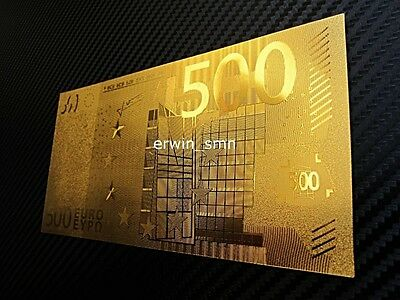 ▓▒░USA SELLER░▒▓ €500 EURO European Banknote GOLD 999999 Plated 24K w/ PVC Frame