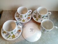 Staffordshire tea cups and saucers.