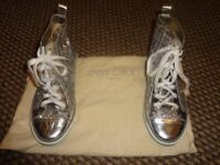 JIMMY CHOO SILVER GLITTER TRAINERS IN JC BAG. REDUCED