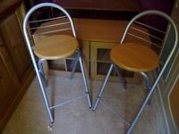 Metal and Wood Folding Bar Stools x2, with back rest - £15 for the pair