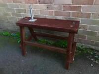 Peg / tine cutting bench seat. Teak