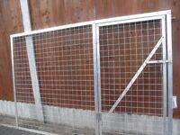 Mesh panel with integral gate, aluminium angle, galvanised steel mesh, nuts/bolts stainless steel