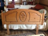 Pine headboard. Double bed size. Ideal shabby chic project. Minor wear and tear only.