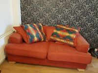 2 Free comfy and wellworn burgundy sofas