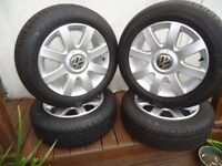 4 x GENUINE VW T4 CADDY ALLOY WHEELS AND COMERCIAL TYRES 195/60/16c