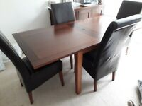 G-PLAN DARK OAK EXTENDABLE TABLE & REAL LEATHER CHAIRS