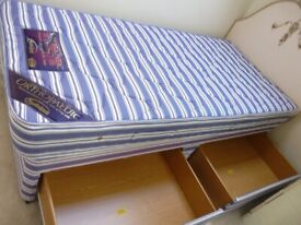 Nestledown single bed double draw divan bed Orthopaedic Bed and headboard
