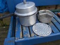 Prestige Hi-Dome 4L Aluminium Pressure Cooker complete with 3 baskets and inner stand.