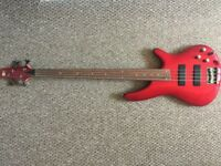 Fretless Bass. Ibanez SR300 four string active bass. Candy apple metalflake finish active.