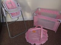 Graco dolls play set - cot, playmat and highchair which converts to swing & car seat.