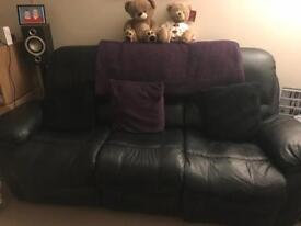 Leather recliner 3 seater and armchair