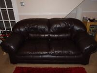 Good quality Brown Real Leather Three Piece Suite