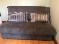 Grey Sofa Bed with Striped Cushions Click Clack System