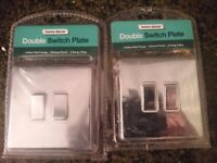 Chrome/Silver Double Light Switch Pkates/Covers x 2 NEW
