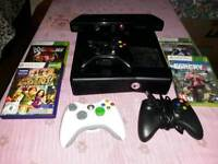 Xbox 360 Slim 3 controllers 4 games and camera!
