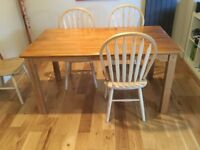Solid beech kitchen / dining table. 150 x 85cm. Has extender serving end.