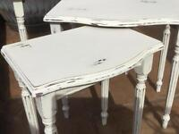 Upcycled Shabbied nest of tables in cream