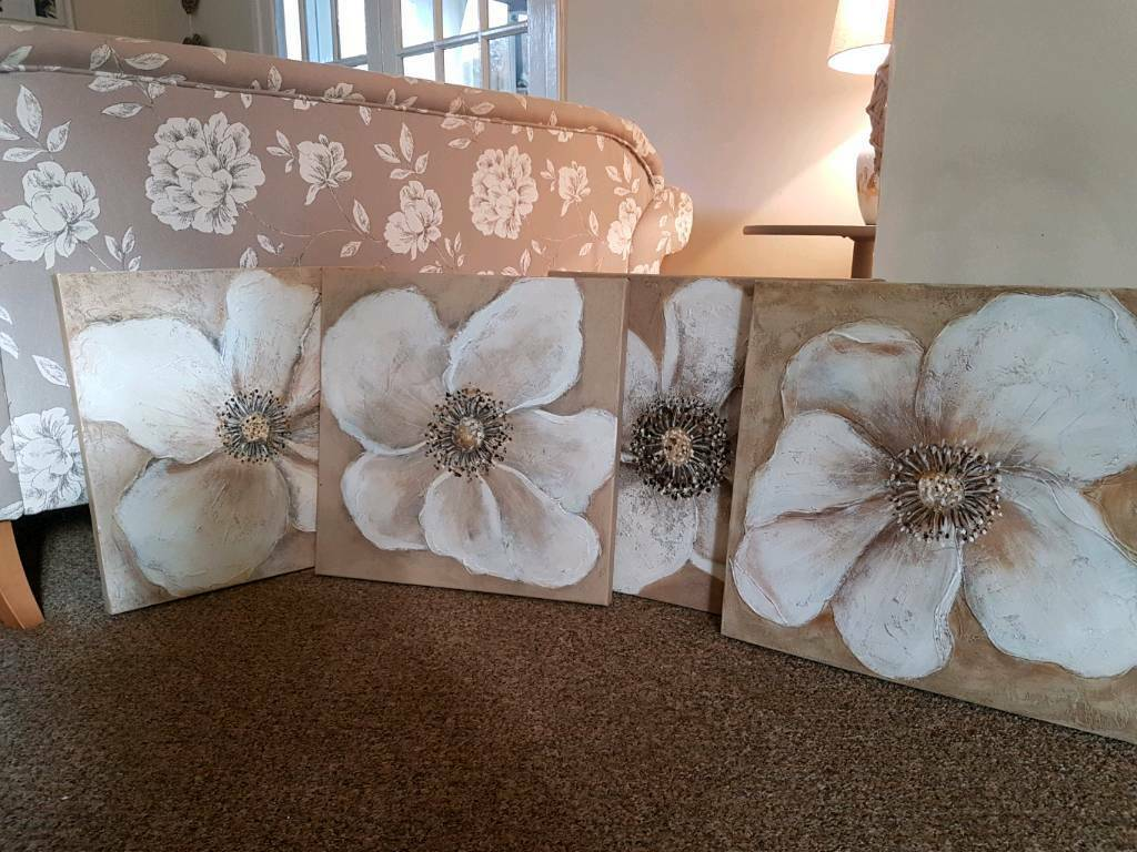 4 stunning large hand painted canvases from Next