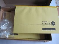 25 SUSPENSION FILES BY CRYSTALFILE NEW YELLOW WITH TABS AND INSERTS