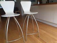 Two white kitchen stools MFI