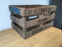 Two vintage wooden crates available for storage / display