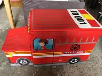 Canvas fire engine toy box storage with two compartments red