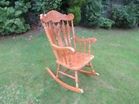 Solid Oak Firesdide Rocking Chair