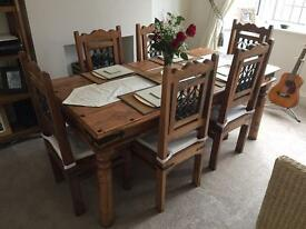 Sheesham dining room table with 6 chairs