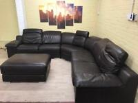 Huge Comfy Family Brown Leather Corner Sofa