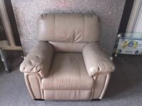 Leather sofa armchair pouffie storage inside pouffie looking for £100 for all three need to pick up