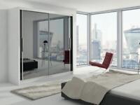 2 Door Sliding Mirror Door High Gloss Wardrobe black/white/wench/brown