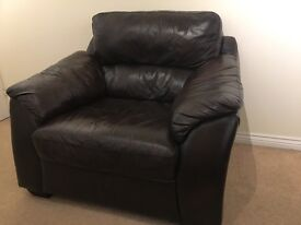 Must Go brown leather sofa & captains chair