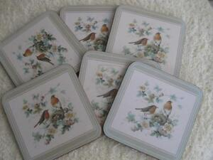 VINTAGE SET of 6 THICK DELUXE SQUARE CORK-BACK WATER GLASS COASTERS