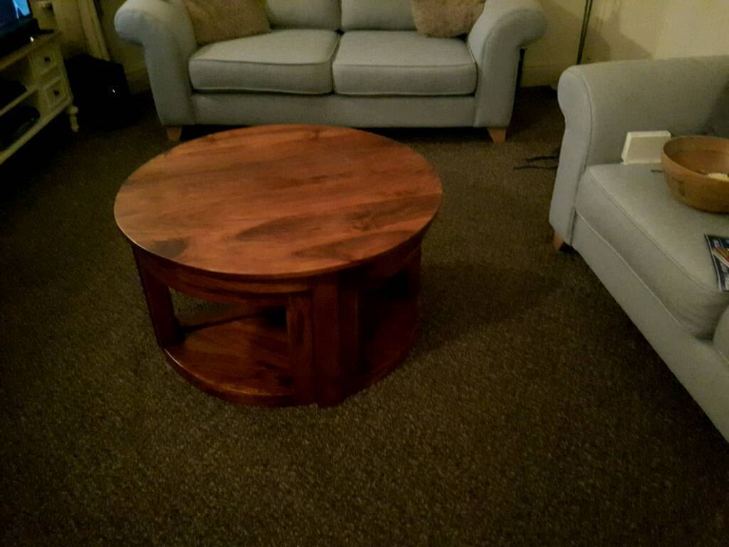 Sheesham coffee table, round highly polished Sheesham wood with 4 small tables as per pictures