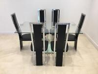 Glass Black Leather 6 Chair Dining Table Set