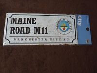 Brand new Manchester City FC Maine Road retro look metal street sign