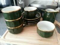 Apilco green and gold fine China coffee set** PRICE DROP