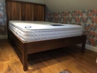 Walnut double bed with mattress