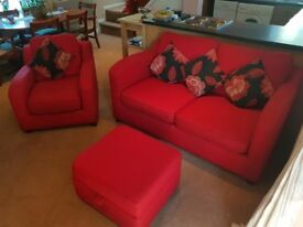 Quality Red weave 2/3 seater sofa bed + armchair and storage footstool, with cushions